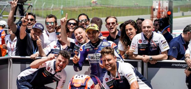 Jorge Martin on top of Mugello Moto3 podium